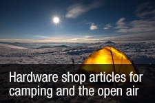 Hardware shop articles for camping and the open air