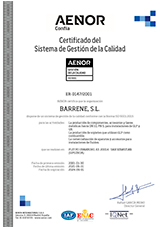 Quality management system certification has been awarded for Barrene's following activities